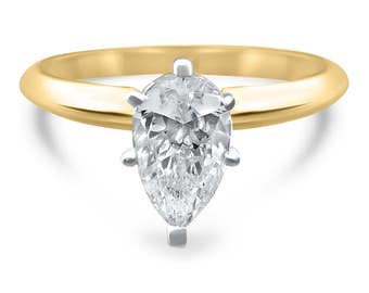 14k Yellow gold 1.5 Carat or 2 Carat Pear moissanite  engagement ring- solitaire Forever ONE moissanite ring