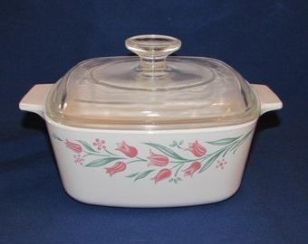 CORNING WARE Casserole Dish Hard-to-Find Rosemarie Pattern A-1.5-B with Lid Corningware