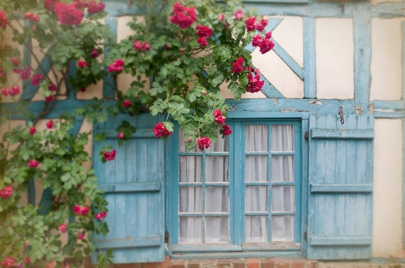 French country photo blue shutters and roses on cottage for French country window shutters