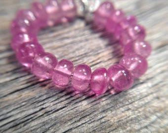 Pink sapphire beads, pink gemstone