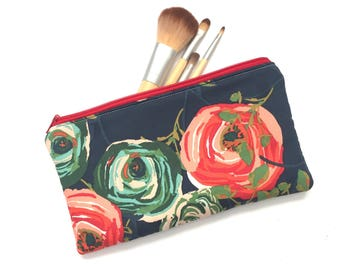 Navy Floral Makeup Brush Pouch, Travel Makeup Bag, Navy Pencil Case , Floral Zipper Organization Pouch, Personalized Gift For Her