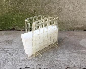 Napkin Holder - Mid Century Napkin Holder - Clear Basket Weave