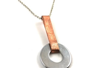 Copper Pendant Necklace Mixed Metal Hardware Jewelry