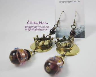 Crown of Coins; Heavy & Dramatic Royal Purple and Bright Gold Disk Earrings with Bronze Accents