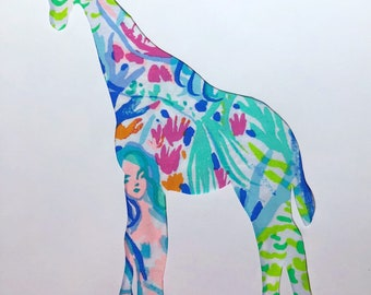New Made To Order custom Giraffe Pillow made with Lilly Pulitzer Mermaid Cove fabric