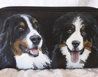 Custom Painted Both Sides Large Double Zipper Wallet