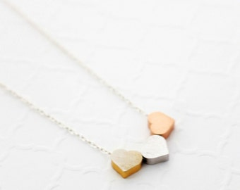 Jewelry Gift for Best Friend Necklace, Friendship Necklace, Tiny Heart Necklace for Mom, Three Sisters Necklace Gift for Mom 3 Best Friend