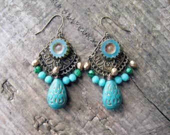 Turquoise Teardrop Chandelier Earrings // Turquoise Earrings, Blue Earrings, Beaded Earrings, Bohemian Earrings, Teardrop Earrings