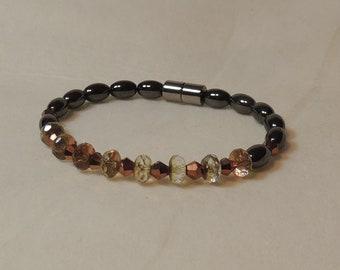 Swarovski Crystals and Magnetic Hematite Bracelet