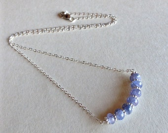 Genuine Pale Blue Sapphire and Sterling Silver Artisan Necklace