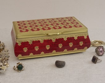 Vintage Decorative Tin Red and Gold Floral Jewelry Trinket Box, Cottage Chic