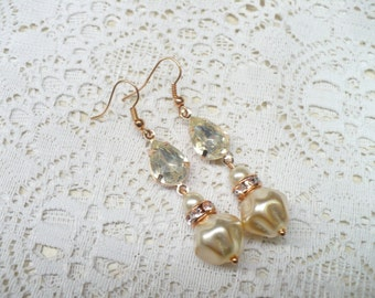 Vintage Repurposed Ivory Baroque PEARL/RHINESTONE - Rose Gold Tone Earrings -  pierced dangles - Bridesmaid - Bridal - rhinestone rondelle