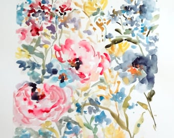 "At the Garden No.2, Original Watercolor 11""x14"", Watercolor Flowers, Watercolor Floral Art, Floral Wall Decor"