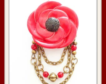 Fleur Rouge in polymer clay and Red Czech glass beads brooch