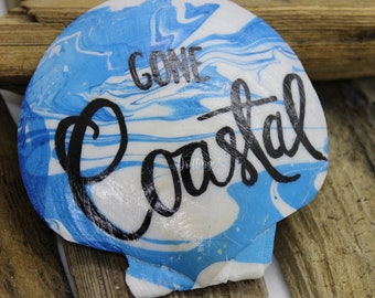 Gone Coastal Handwritten Punny Beach or Coastal Home Decor Shell Magnet for your Desk or Kitchen, Pun Beach Magnet, Coastal or Beach Kitchen