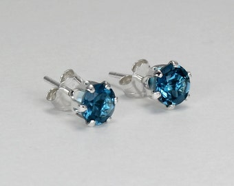 Natural London Blue Topaz Earrings Sterling Silver / Silver London Blue Topaz Stud Earrings