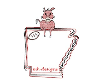 State of Arkansas with Razorback and Football embroidery design, Vintage stitch razorback, Arkansas embroidery file, Bean stitch razor back