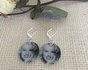 Marilyn Monroe Iconic Black and White Photograph Silver Hooked Earrings