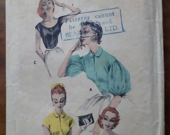 """1950s Blouse - 34"""" Bust - Butterick 7802 - Vintage Sewing Pattern"""