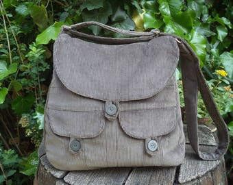 Gray corduroy messenger bag,buttoned big bag
