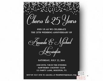 25th anniversary invitations printable 25th wedding 25th wedding anniversary invitations printable 25th anniversary invitations cheers to 25 years glitter solutioingenieria Gallery