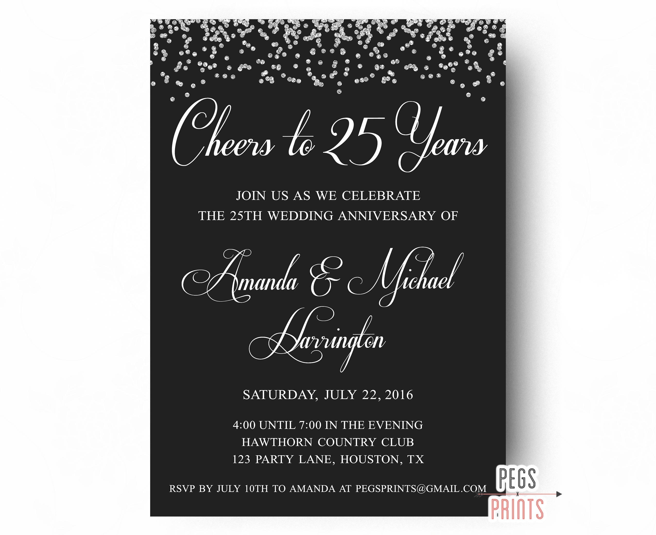 25th Wedding Anniversary Invitations PRINTABLE 25th