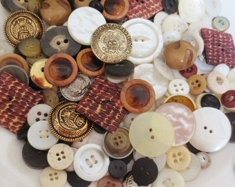 Huge Vintage Buttons Lot and Storage Tins (320 Pieces Plus 4 Tins)