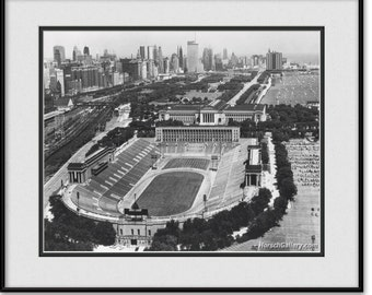 Vintage Soldier Field Art - Chicago Bears Black and White Photograph, Print, Picture, Photo, Wall Art