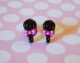 Tiny Black Swirly Lollipop Earrings