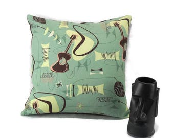 Barkcloth Accent Pillow Cover * Retro Tiki 'Jetson' * New Fabric * Mid Century Atomic Boomerang * Amoeba * Ukelele