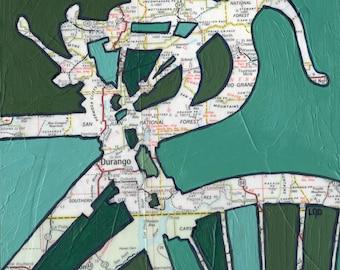 Durango-medium print - 13x13 & 16x16 - Durango, Colorado, San Juan Forest  - bicycle // bike print of original map painting