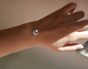 Minimalist Tiny Initial Moon Star Bracelet, crescent bracelet, Initial Moon Bracelet,Star Bracelet,Bridesmaid Gift,Dot Bracelet