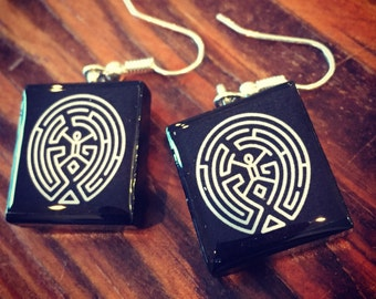 Westworld Inspired Maze Scrabble Tile Earrings