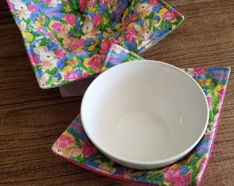 """Microwave bowl cozys- Bunny-tulip- Easter-set: 1 sm 10""""-1 med 12"""""""