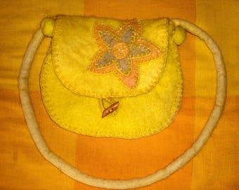 felted bag,handmade,wool,bag with yellow flower,stylish bag,felted flower,designer bag