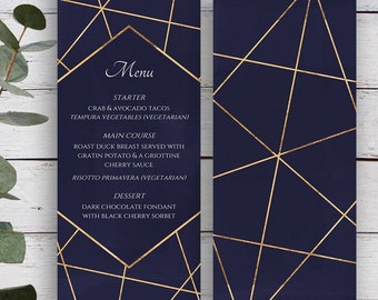 Facets Printable Menu Template, Navy with Gold Geometrics