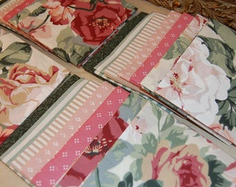 Cabbage Rose FQ bedsheet bundle | 7 Fat Quarters | reclaimed bedsheets floral stripe shabby pillow case quilting fabric linens
