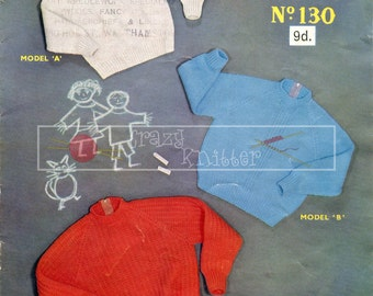Children's Jerseys 2-6 years DK Sirdar 130 Knitting Pattern PDF instant download