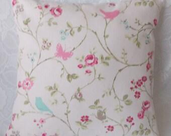 "Handmade Clarke & Clarke ""Bird Trail""cushion pillow cover. Rose or Seafoam. 14"", 16"", 18"" 20"", 22"",24"""