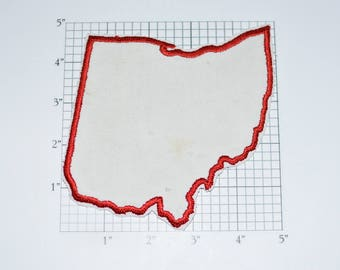 State Of Ohio Outline Shape Iron On Vintage Embroidered Travel Patch As Is
