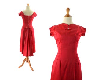 1950s Dress, 50s Dress, Red Dress, Cocktail Dress, 50s Party Dress, 1950s Party Dress, Womens Dress, Vintage Clothing, Extra Small Dress
