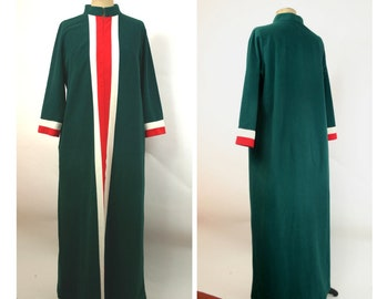 60s Dark Green Womens XL Ankle Length Robe Housecoat Vertical Front Stripe White Red Front Zip Mock Neck