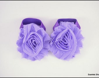Lavender Baby Sandals - Purple Barefoot Sandals - Flower Shoe Clips - Baby Sandals - Baby Girl Shoes - Infant Sandals - Purple Baby Shoes