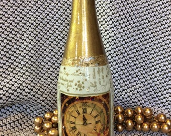 New Year's Eve bottle art.