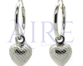 925 Silver Sleeper Hoop Earrings with Engraved Pouch Heart Charm