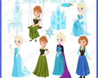 Frozen Clipart Set Part 2 -- Elsa and Anna (300dpi) (In png and jpeg formats)