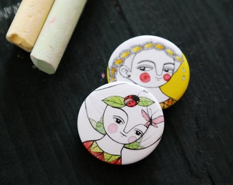 Pin set, girl brooches, button pins, gift for her
