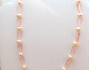 Fresh Water Pearl Pink Glass Necklace