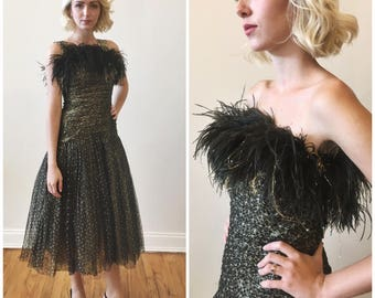 Vintage 1980s Gold and Black Party Dress with Faux Ostrich Feathers