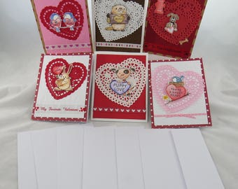 Valentine's card set, Whimsical Valentine's cards, animal Valentines cards, Doily Valentine's cards, simple Valentine's cards